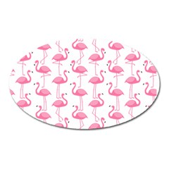 Pink Flamingos Pattern Oval Magnet by Nexatart