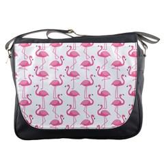 Pink Flamingos Pattern Messenger Bags by Nexatart