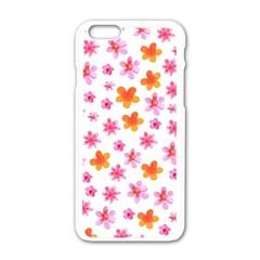 Watercolor Summer Flowers Pattern Apple Iphone 6/6s White Enamel Case by TastefulDesigns