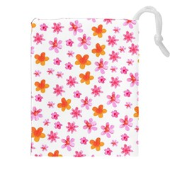 Watercolor Summer Flowers Pattern Drawstring Pouches (XXL) by TastefulDesigns