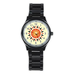 Yin Yang Sunshine Stainless Steel Round Watch by linceazul