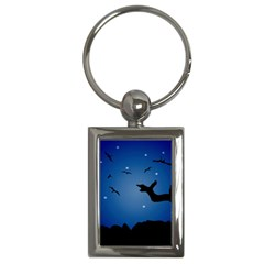 Nightscape Landscape Illustration Key Chains (rectangle)  by dflcprints