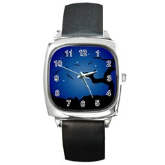 Nightscape Landscape Illustration Square Metal Watch by dflcprints