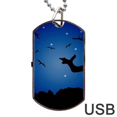 Nightscape Landscape Illustration Dog Tag Usb Flash (one Side) by dflcprints