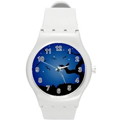 Nightscape Landscape Illustration Round Plastic Sport Watch (m) by dflcprints