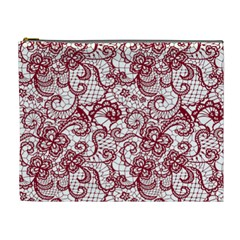 Transparent Lace With Flowers Decoration Cosmetic Bag (xl) by Nexatart