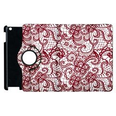 Transparent Lace With Flowers Decoration Apple Ipad 2 Flip 360 Case by Nexatart