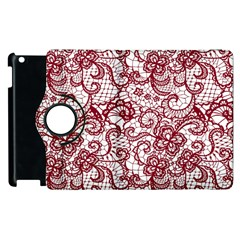 Transparent Lace With Flowers Decoration Apple Ipad 3/4 Flip 360 Case by Nexatart