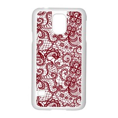 Transparent Lace With Flowers Decoration Samsung Galaxy S5 Case (white) by Nexatart