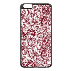 Transparent Lace With Flowers Decoration Apple Iphone 6 Plus/6s Plus Black Enamel Case by Nexatart