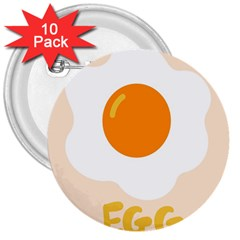 Egg Eating Chicken Omelette Food 3  Buttons (10 Pack)  by Nexatart