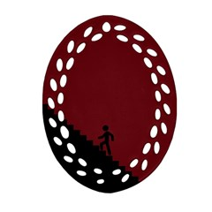 Walking Stairs Steps Person Step Oval Filigree Ornament (two Sides) by Nexatart