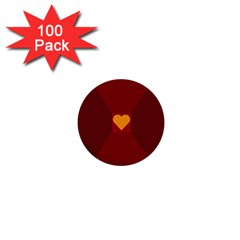 Heart Red Yellow Love Card Design 1  Mini Buttons (100 Pack)  by Nexatart