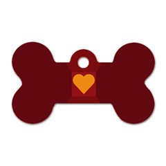 Heart Red Yellow Love Card Design Dog Tag Bone (one Side) by Nexatart