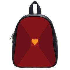 Heart Red Yellow Love Card Design School Bags (small)  by Nexatart