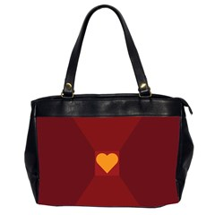 Heart Red Yellow Love Card Design Office Handbags (2 Sides)  by Nexatart