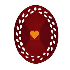 Heart Red Yellow Love Card Design Ornament (oval Filigree) by Nexatart