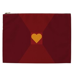 Heart Red Yellow Love Card Design Cosmetic Bag (xxl)  by Nexatart