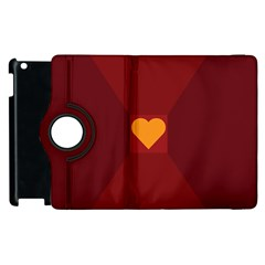 Heart Red Yellow Love Card Design Apple Ipad 3/4 Flip 360 Case