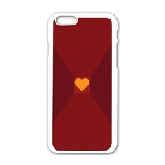 Heart Red Yellow Love Card Design Apple Iphone 6/6s White Enamel Case by Nexatart