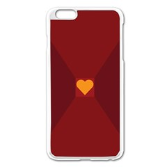 Heart Red Yellow Love Card Design Apple Iphone 6 Plus/6s Plus Enamel White Case by Nexatart