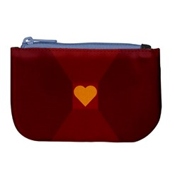Heart Red Yellow Love Card Design Large Coin Purse by Nexatart