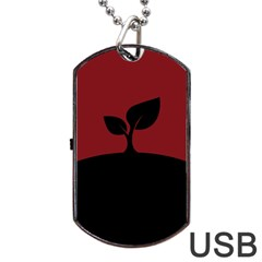 Plant Last Plant Red Nature Last Dog Tag Usb Flash (one Side) by Nexatart