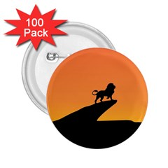 Lion Sunset Wildlife Animals King 2 25  Buttons (100 Pack)  by Nexatart