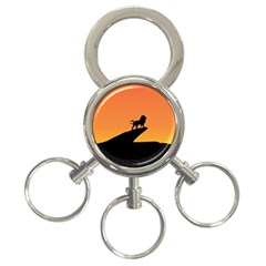 Lion Sunset Wildlife Animals King 3 Ring Key Chains by Nexatart