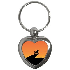 Lion Sunset Wildlife Animals King Key Chains (heart)  by Nexatart