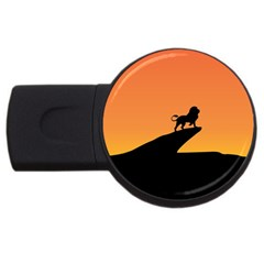 Lion Sunset Wildlife Animals King Usb Flash Drive Round (2 Gb) by Nexatart