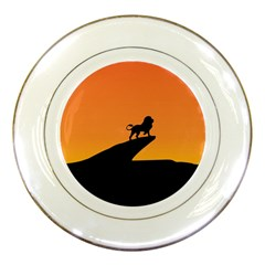 Lion Sunset Wildlife Animals King Porcelain Plates by Nexatart