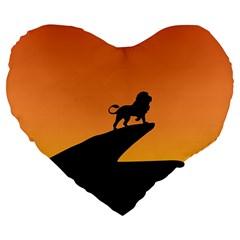 Lion Sunset Wildlife Animals King Large 19  Premium Heart Shape Cushions by Nexatart