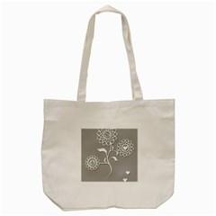 Flower Heart Plant Symbol Love Tote Bag (cream) by Nexatart