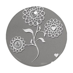 Flower Heart Plant Symbol Love Round Ornament (two Sides) by Nexatart
