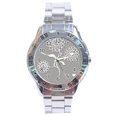 Flower Heart Plant Symbol Love Stainless Steel Analogue Watch by Nexatart