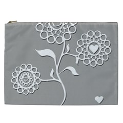 Flower Heart Plant Symbol Love Cosmetic Bag (xxl)  by Nexatart