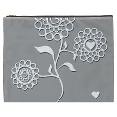 Flower Heart Plant Symbol Love Cosmetic Bag (xxxl)  by Nexatart