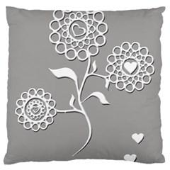 Flower Heart Plant Symbol Love Standard Flano Cushion Case (one Side) by Nexatart