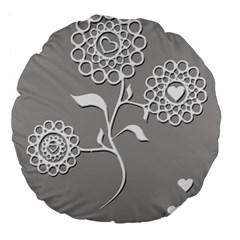 Flower Heart Plant Symbol Love Large 18  Premium Flano Round Cushions by Nexatart
