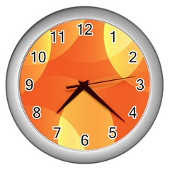 Abstract Orange Yellow Red Color Wall Clocks (silver)  by Nexatart