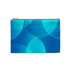 Abstract Blue Wallpaper Wave Cosmetic Bag (medium)  by Nexatart