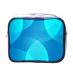 Abstract Blue Wallpaper Wave Mini Toiletries Bags by Nexatart