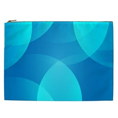 Abstract Blue Wallpaper Wave Cosmetic Bag (xxl)  by Nexatart