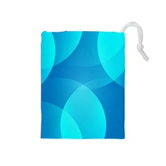 Abstract Blue Wallpaper Wave Drawstring Pouches (medium)  by Nexatart