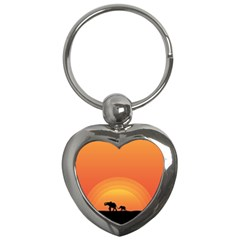 Elephant Baby Elephant Wildlife Key Chains (heart)  by Nexatart