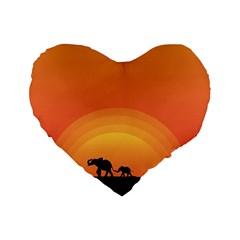 Elephant Baby Elephant Wildlife Standard 16  Premium Flano Heart Shape Cushions by Nexatart