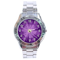 Purple Flower Floral Purple Flowers Stainless Steel Analogue Watch by Nexatart
