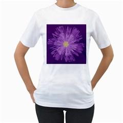 Purple Flower Floral Purple Flowers Women s T Shirt (white)