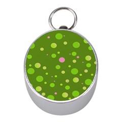 Decorative Dots Pattern Mini Silver Compasses by ValentinaDesign